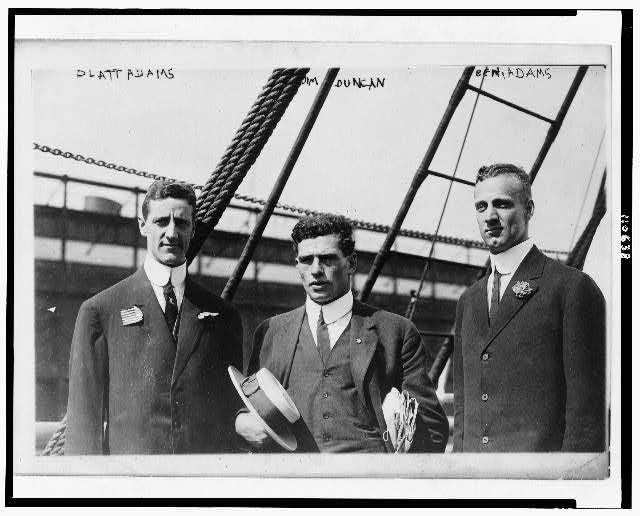 [Left to right: Platt Adams; Jim Duncan, Olympic athlete; and Ben Adams]