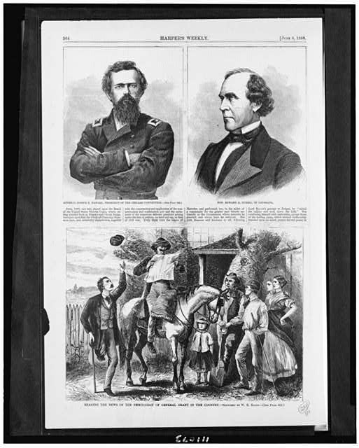 General Joseph R. Hawley, president of the Chicago convention Hon. Edward H. Durell, of Louisiana. Reading the news of the nomination of General Grant in the country /