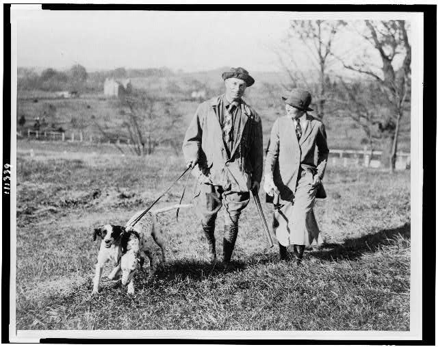 [Gen. and Mrs. William Mitchell training young dogs at the beginning of the quail season]