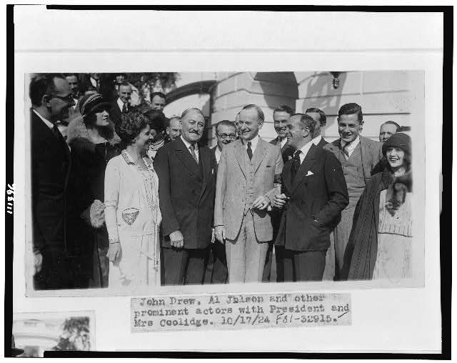 John Drew, Al Jolson and other prominent actors with President and Mrs. Coolidge