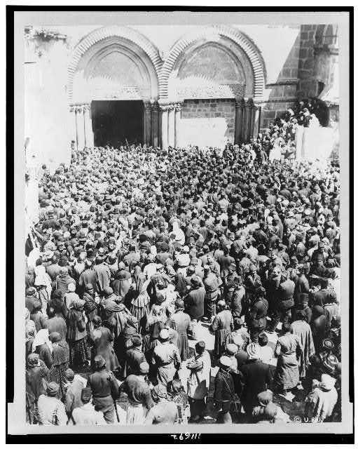 [Crowd waiting for the holy fire to come down from Heaven, a miracle celebrated by the Greek Orthodox Church during Easter week, Jerusalem]