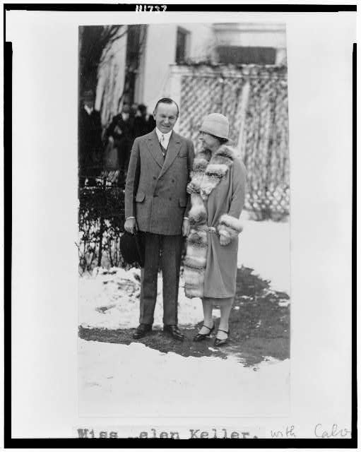 [President Coolidge and Helen Keller, full-length portrait, standing]