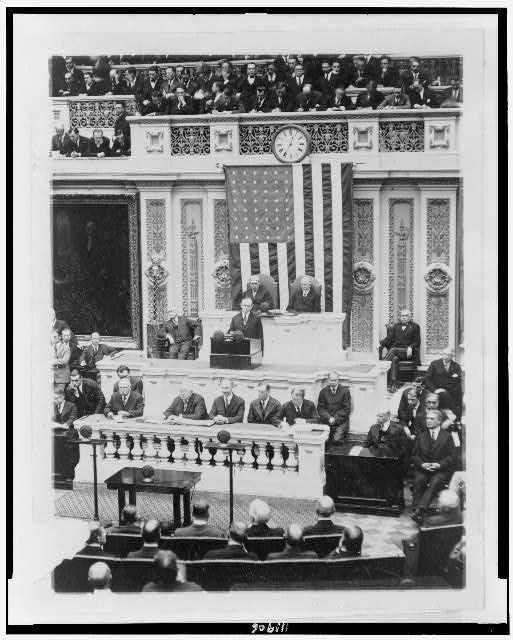 [President Coolidge delivering his first message to Congress]