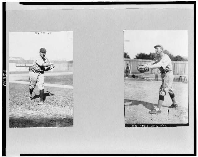 [George Bostic Whitted, baseball player for St. Louis and Philadelphia, full-length, facing right, swinging bat; and full-length, facing left, catching ball]