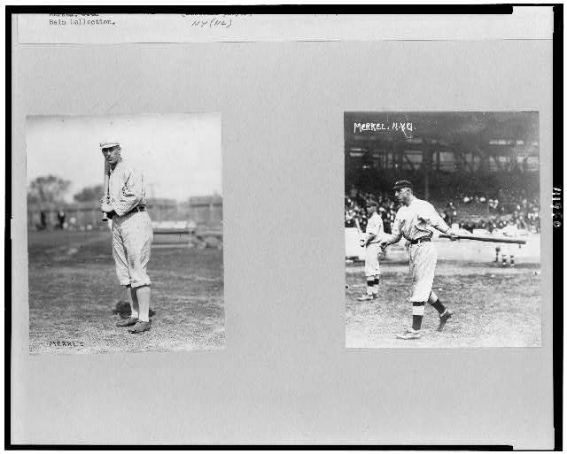 "[Frederick Charles Merkle, New York NL baseball player, full-length portrait, standing, facing slightly left, holding bat; and on the right, Charles ""Buck"" Herzog, full-length, facing left, swinging bat]"