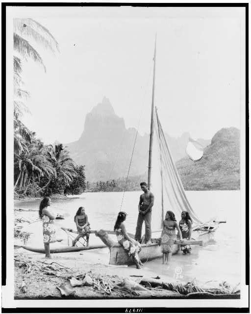 [Tahitian man, women, and sailboat]