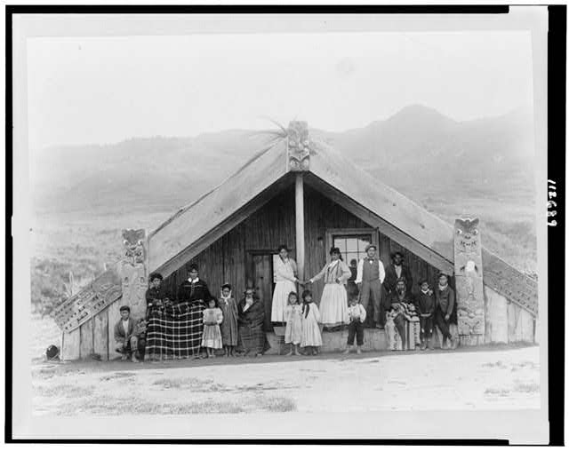 New Zealand, Maoris at their talking house