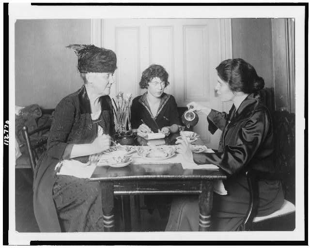 [Alice Paul and Mrs. Lawrence Lewis holding a conference, Pauline Floyd, sec., at 14 Jackson Place]