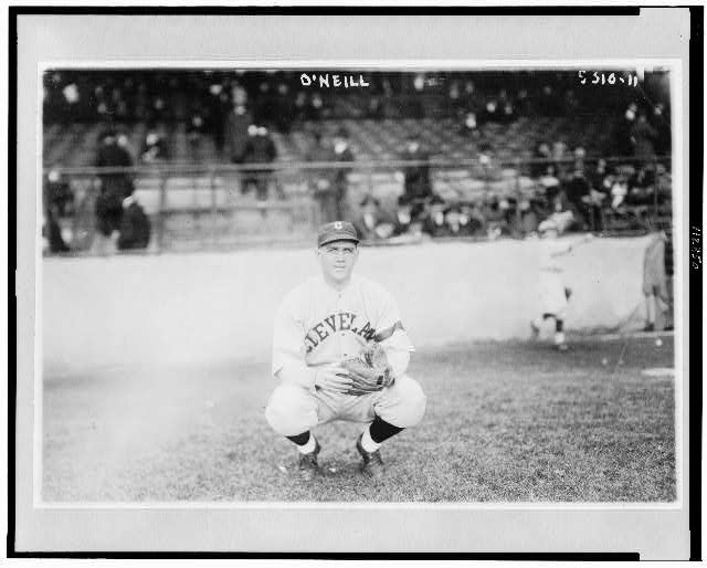 [Stephen Francis O'Neill, Cleveland AL baseball player, full-length portrait, squatting on baseball field]