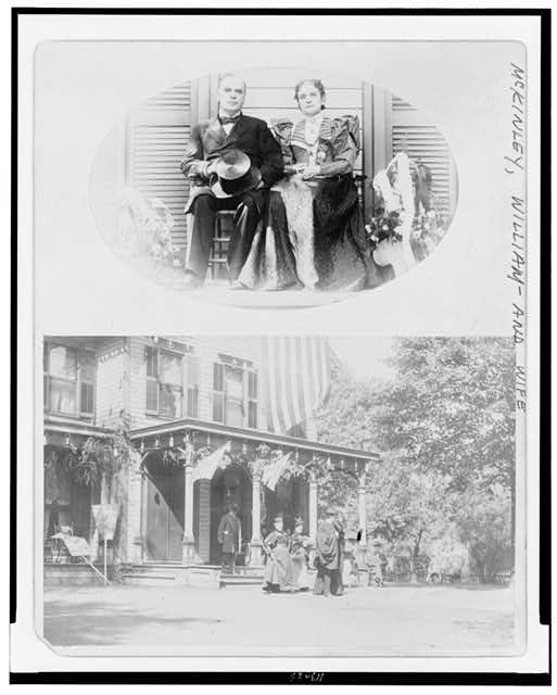 [President McKinley and Mrs. McKinley, full-length portrait, seated, facing front Group of people in front of house]