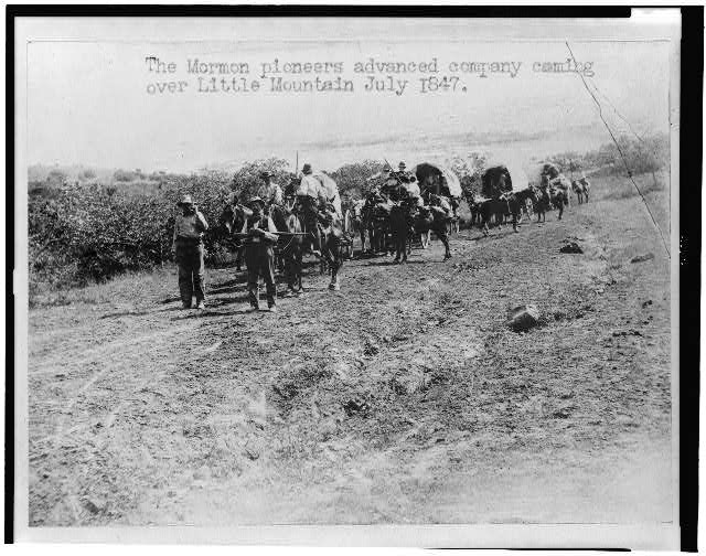 The Mormon pioneers advanced company coming over Little Mountain, July 1847