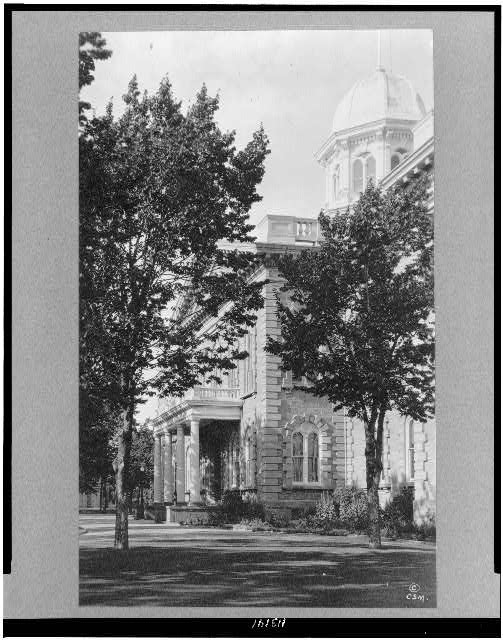 [Side view of portico of Nevada state capitol building in Carson City]