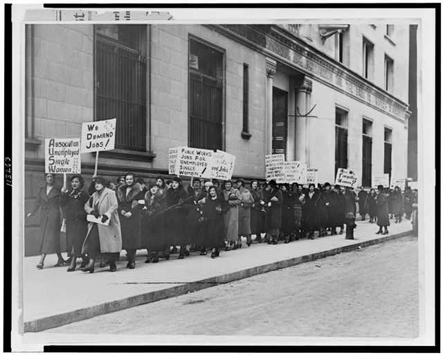"""Forgotten women,"" unemployed and single, in job demand parade"