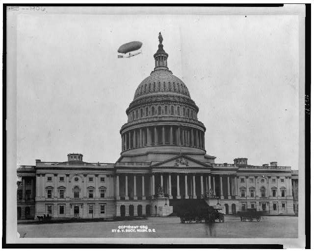 [East front of the U.S. Capitol, with airship (drawn?) above, Washington, D.C.]