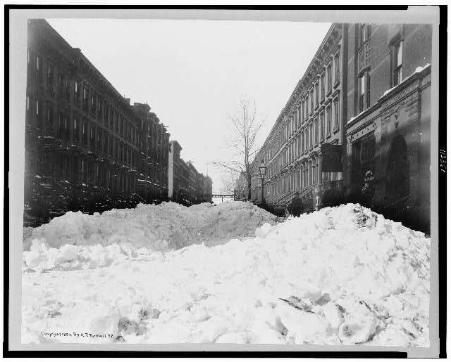 [Street in Harlem, New York City, after the blizzard of Feb. 13, 1899]