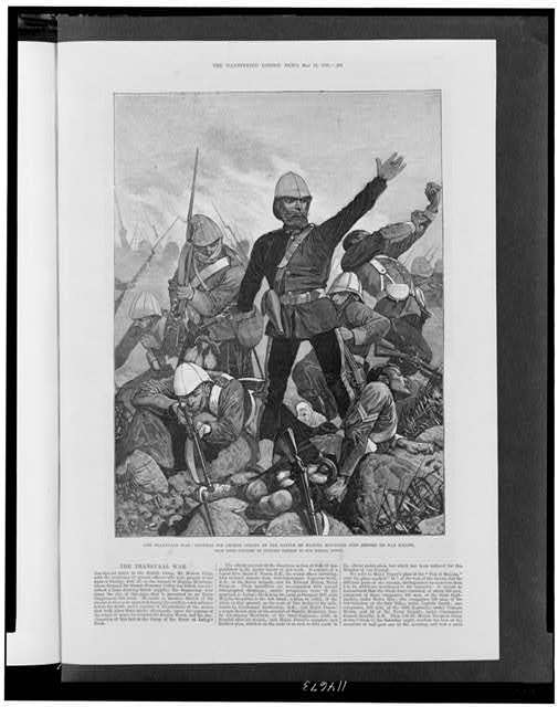 The Transvaal war: General Sir George Colley at the Battle of Majuba Mountain just before he was killed