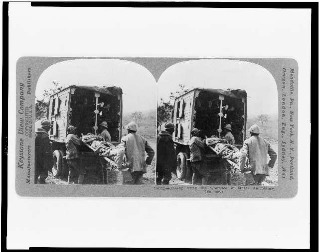 Taking away the wounded in motor ambulance (Somme)