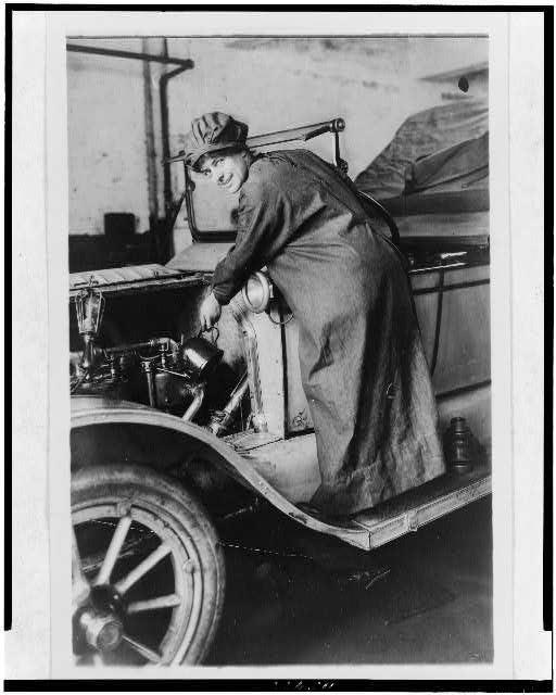 Rosalie Jones as an auto salesman