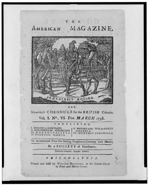 The American magazine, and monthly chronicle for the British colonies Praevalebit aequior.