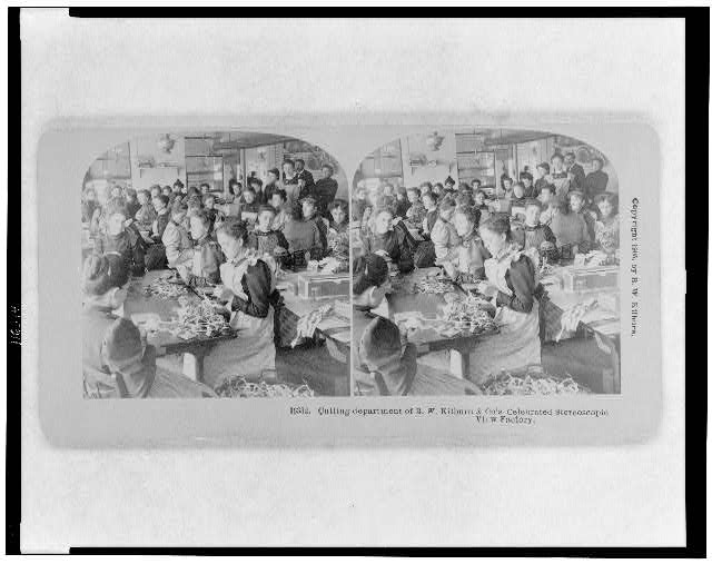 Cutting department of B.W. Kilburn & Co's. celebrated stereoscopic view factory