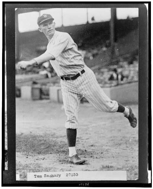 [Tom Zachary, Washington Nationals baseball player, full-length portrait, throwing baseball]