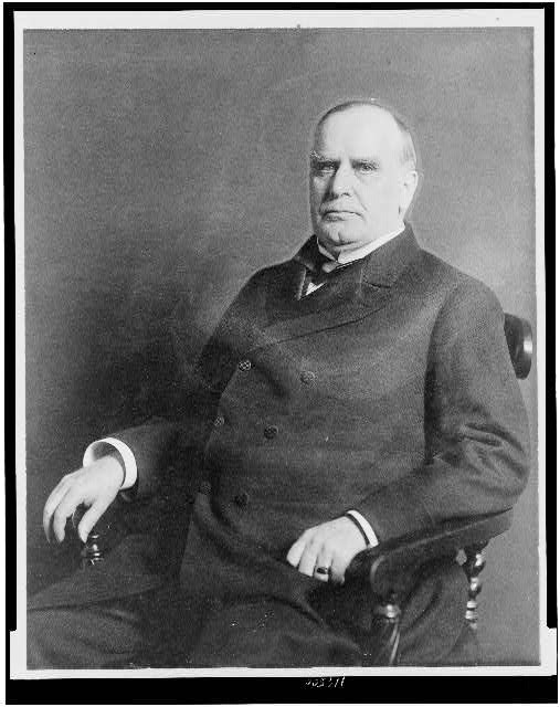 [President William C. McKinley, three-quarter length portrait, seated, facing left]