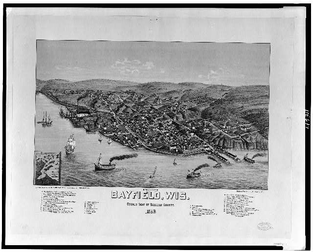 Bird's-eye view of Bayfield, Wis., county seat of Bayfield County--1886