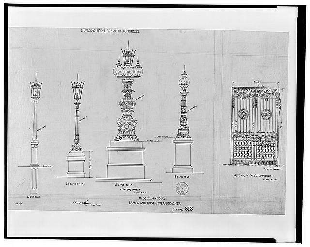 [Library of Congress, Washington, D.C. 813 -- K-lamps and posts for approaches]