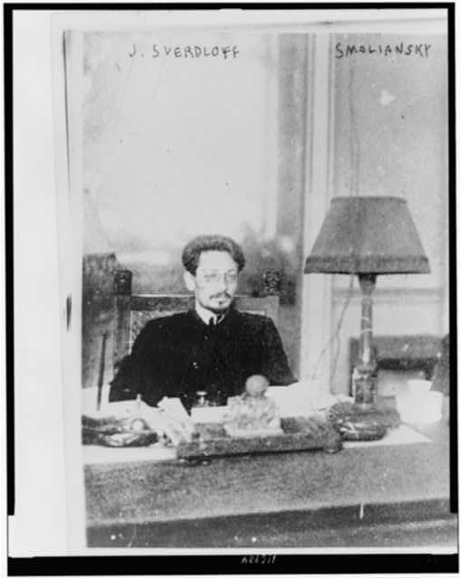 "[I︠A︡kov Sverdlov, ""Pres't. Soviets of Russia,"" half-length portrait, seated at table]"