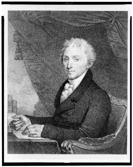 [James Monroe, half-length portrait, seated at desk, facing slightly left]