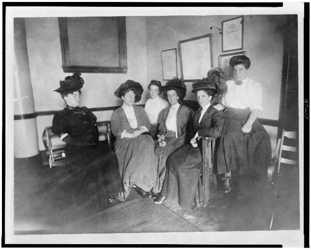 [Suffragette headquarters at 32 Union Square, New York City--Mrs. H.S. Blatch, second from left]