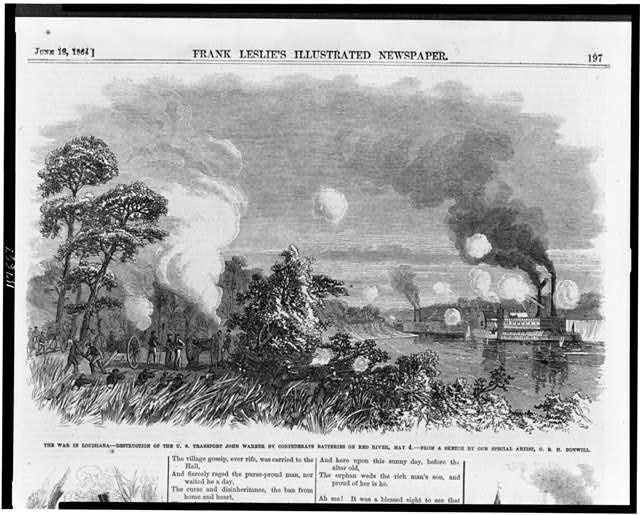 The war in Louisiana - destruction of the U.S. transport John Warner by confederate batteries on Red River, May 4
