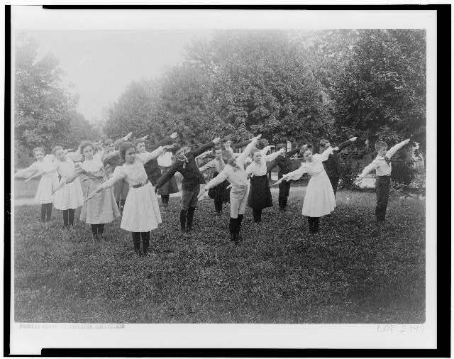 [School children exercising on lawn, Washington, D.C.]