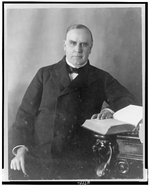 [President William McKinley, half-length portrait, seated at desk, facing front]