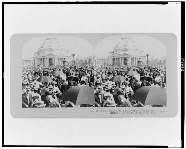 Crowds at the Temple of Music where President McKinley was assassinated, Pan American Exposition