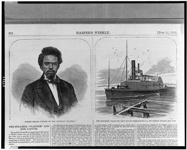 "Robert Smalls, captain of the gun-boat ""Planter"" The gun-boat ""Planter,"" run out of Charleston, S.C., by Robert Smalls, May 1862."