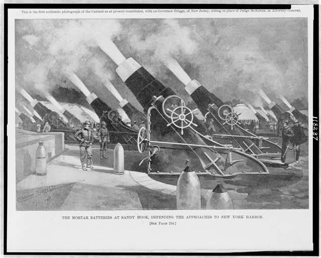 The mortar batteries at Sandy Hook, defending the approaches to New York Harbor