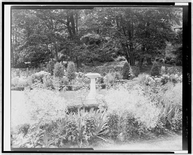 [Sundial in garden, Thomas Estate(?), Beverly Farms, Massachusetts]