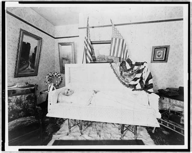 Mrs. Colby Suther lying in state