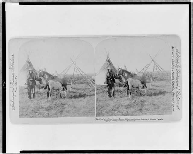 The chieftain of the Sarcees teepee village on the great praries of Alberta, Canada
