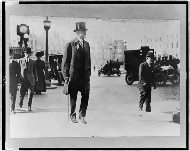 [Thomas Fortune Ryan, full-length portrait, walking on street, facing right]