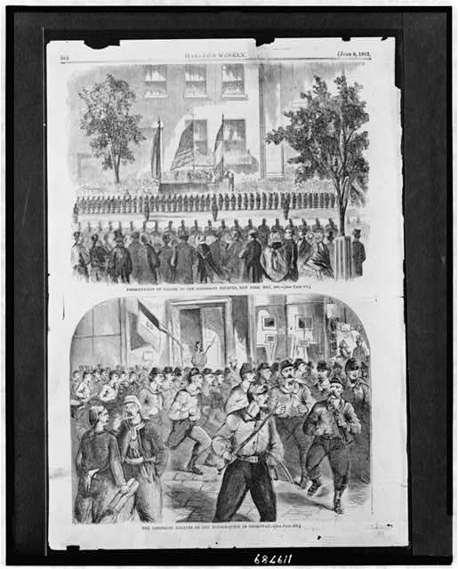 Presentation of colors to the Garibaldi Zouaves, New York, May, 1861 The Garibaldi Zouaves on the double-quick in Broadway.