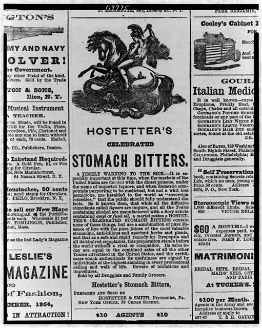 [Advertisement for Hostetter's celebrated stomach bitters, showing man on horse using spear to kill serpent]