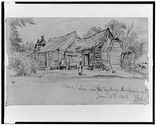 Slave cabin near the Long Bridge, Chicahominy River, Va., June 13th 1864