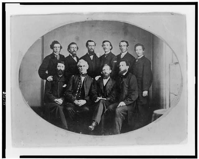 [Portrait of ten men including Anderson D. Johnston (seated second from right)]