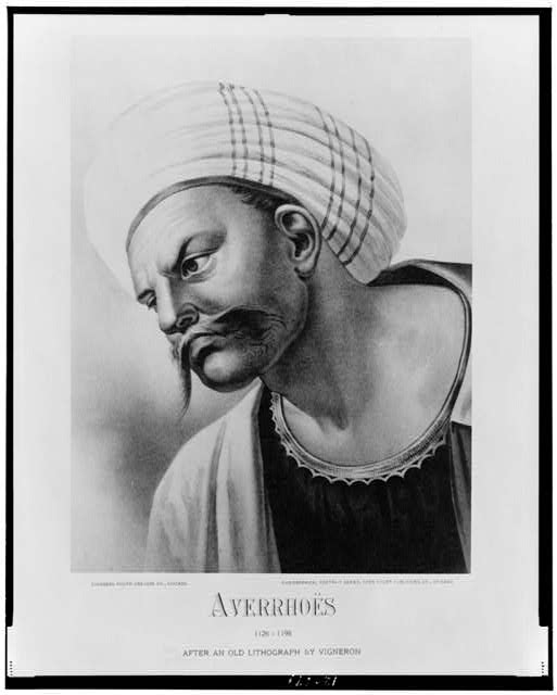 [Averroës, head-and-shoulders portrait, facing left]