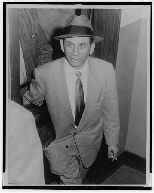 [Meyer Lansky, three-quarter length portrait, facing slightly left, at 54 St. police station, New York City, being booked for vagrancy]