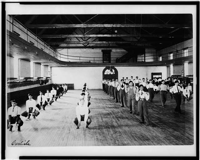 [Male Native American students in physical education class, Carlisle Indian School, Carlisle, Pennsylvania]