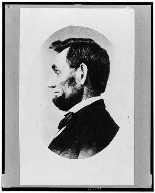 [Abraham Lincoln, head-and-shoulders portrait, in profile facing left; cropped from larger view]