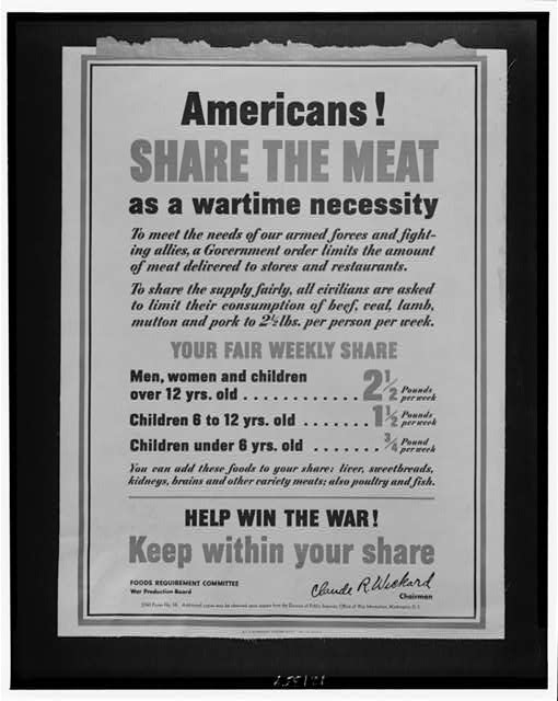 Americans! Share the meat as a wartime necessity